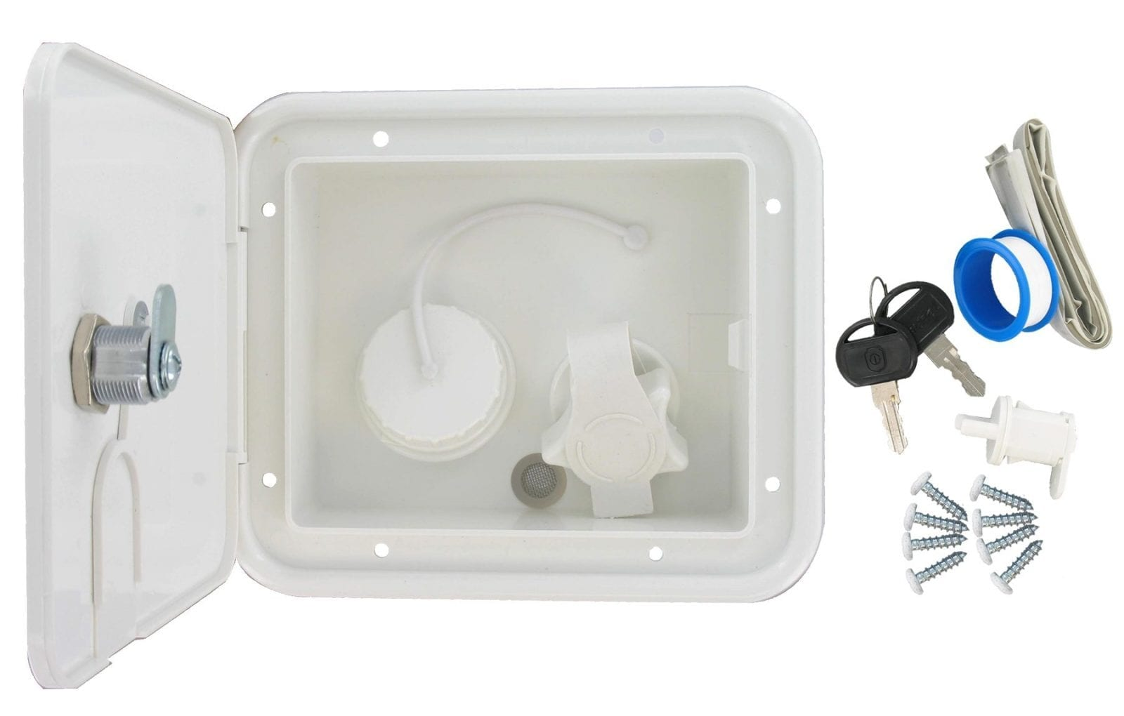 Gravity Plastic City Water Inlet Hatch White Carded