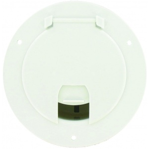 Cable Hatch, Large Round, White, Bulk
