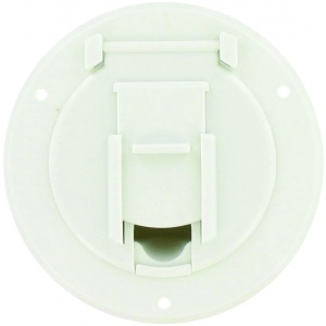 Cable Hatch, Small Round, White, Bulk