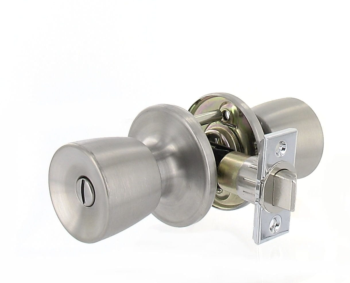 Door Lock Bathroom Bedroom Privacy Knob X Knob Stainless Steel Clam Shell