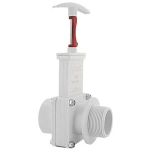 Three Piece Gate Valve Assembly w/ Gate Keeper, 1-1/2″ FPT x MPT, PVC White