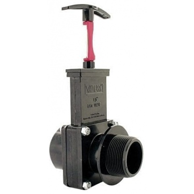 Three Piece Gate Valve Assembly W/Gate Keeper, 1-1/2″ FPT X MPT, ABS Black
