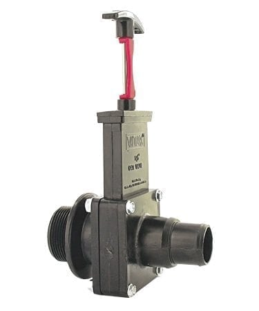 Three Piece Gate Valve Assembly W/Gate Keeper, 1-1/2″ Step Down Hose X MPT, ABS Black