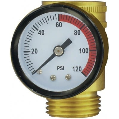 Water Pressure Gauge, Brass, Lead-Free, Carded