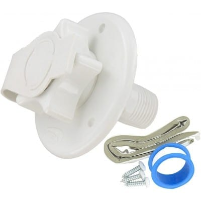 Water Inlet, 2-3/4Ë® Flange, MPT, White, Carded