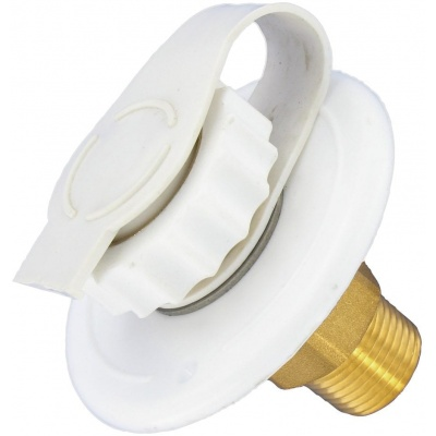 Water Inlet, 2-3/4″ Flange, MPT, Lead-Free Brass, White, Bulk