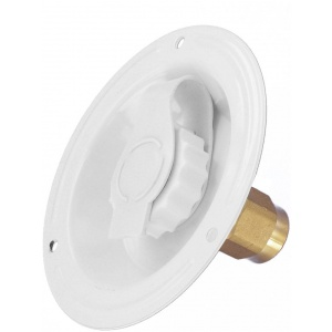 Water Inlet, Recessed Flange, FPT, Lead-Free, White, Bulk