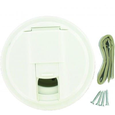 Cable Hatch, Universal Round, White, Carded