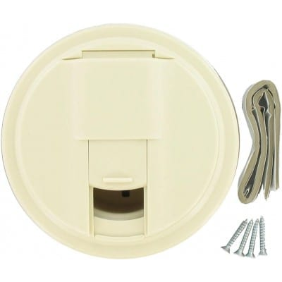 Cable Hatch, Universal Round, Col White, Carded