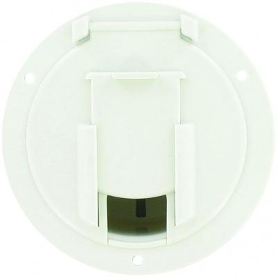 Cable Hatch, Medium Round, White, Bulk