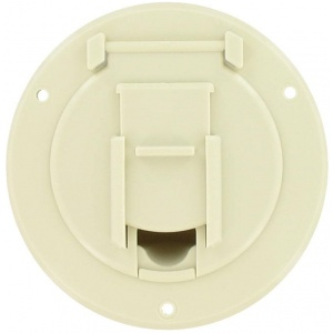 Cable Hatch, Small Round, Col White, Bulk