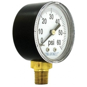 Pressure Gauge, 60 psi, Black Plastic Casing