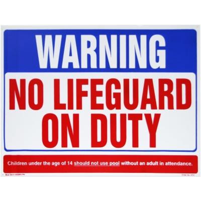"""""""No Lifeguard On Duty"""", 24″ x 18″"""