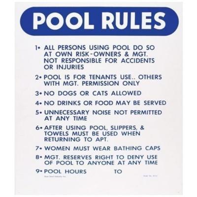 """Pool Rules"" (California), 18″ x 24″"