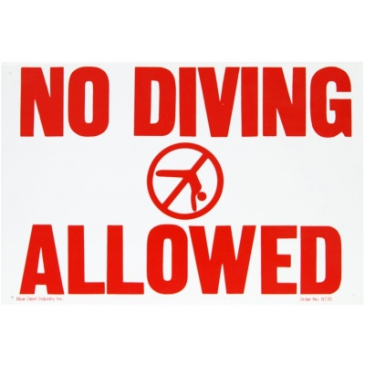 """No Diving Allowed"", 18″ X 12″"