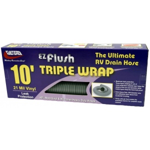 EZ Flush Triple Wrap Drain Hose, 10′, Silver, Boxed