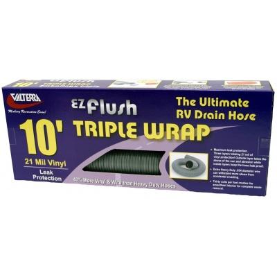 EZ Flush Triple Wrap Drain Hose, 10′, Silver, Boxed