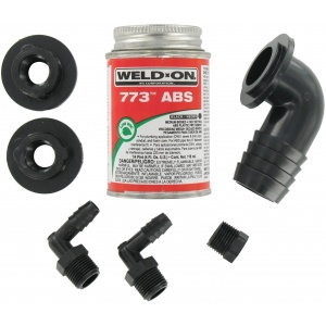 ABS Tank Fill Kit, 90° Barbed Fill plus Cement