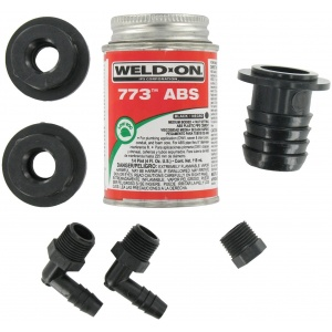 ABS Tank Fill Kit, Straight Barbed Fill, with Cement
