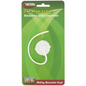 Hose Cap, 3/4″, with Strap, White, Carded