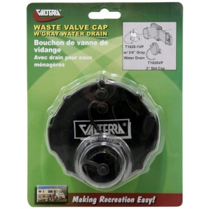 Waste Valve Cap, 3″, 3/4″ GHT with Cap, Black, Carded