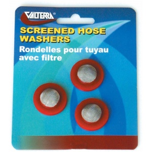 Hose Washers With Screen, Red, 3 Per Card
